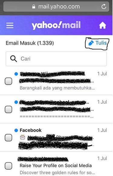 """Foto contoh tombol """"Tulis"""" di yahoo mail ( versi HP )"""