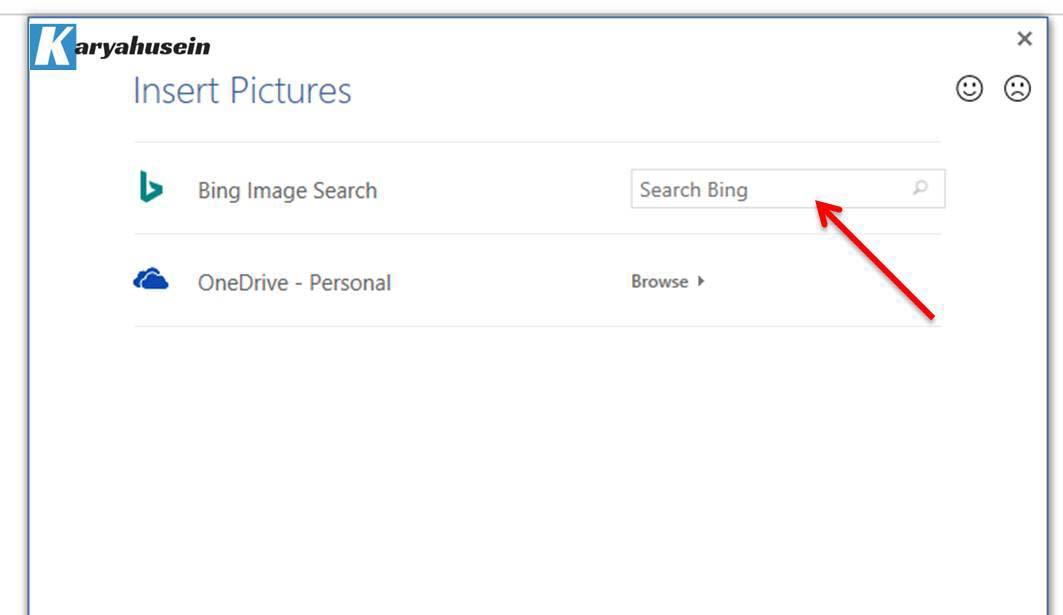 menyisipkan gambar melalui Online Pictures