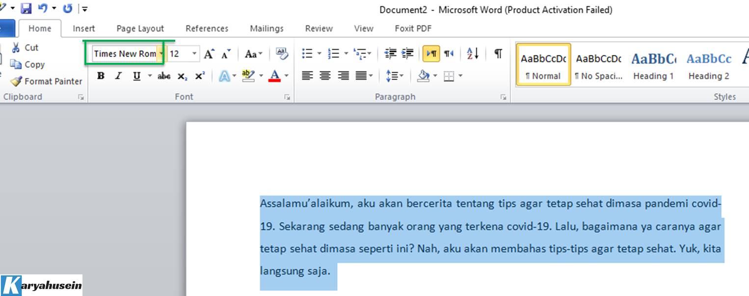 memilih jenis font yang dibutuhkan