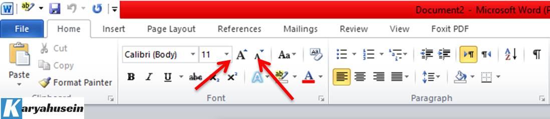 memilih jenis font size