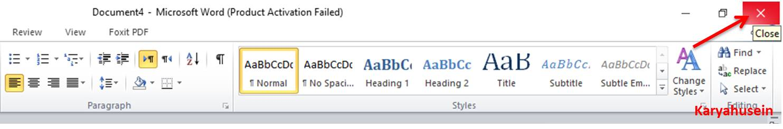 Klik Close untuk menutup microsoft word