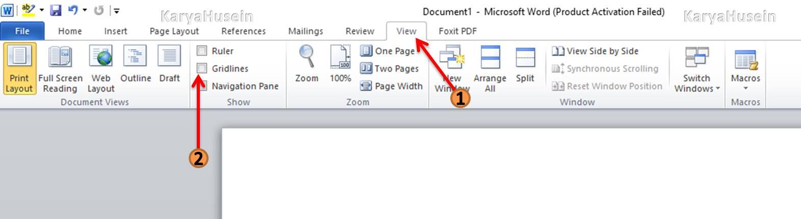 Klik menu view di word