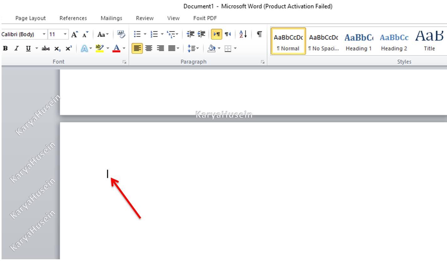 Letakkan kursor mouse di awal halaman word
