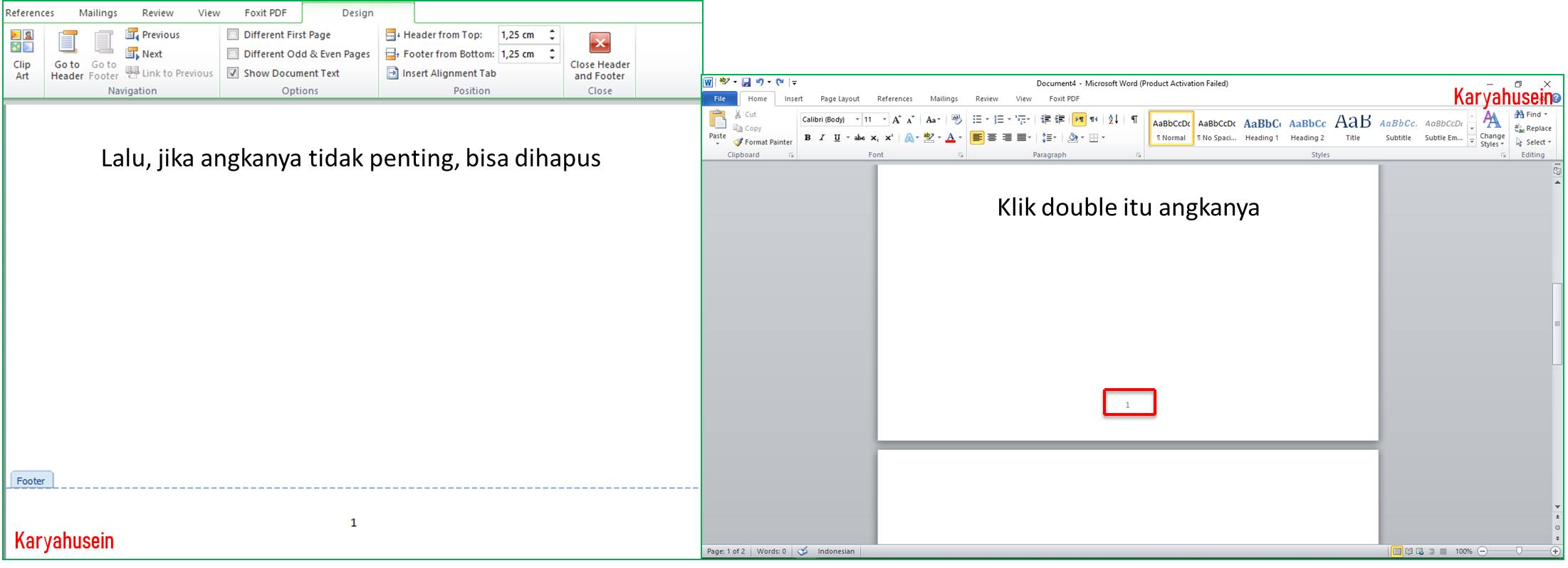 cara menghapus header and footer di word