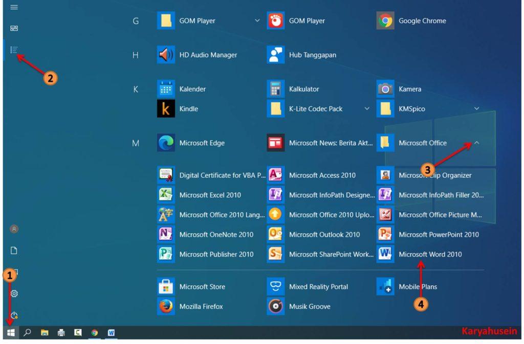 Klik menu start lalu klik all aps untuk buka microsoft word