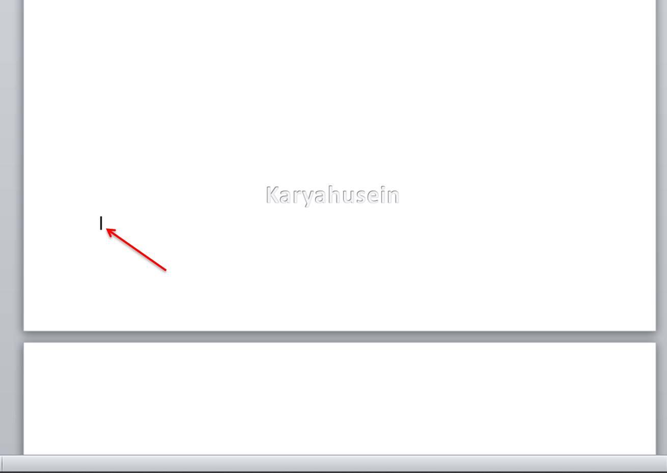 Letakkan kursor mouse di awal halaman untuk menambah halaman