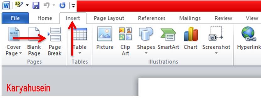 cara menambahkan halaman di word