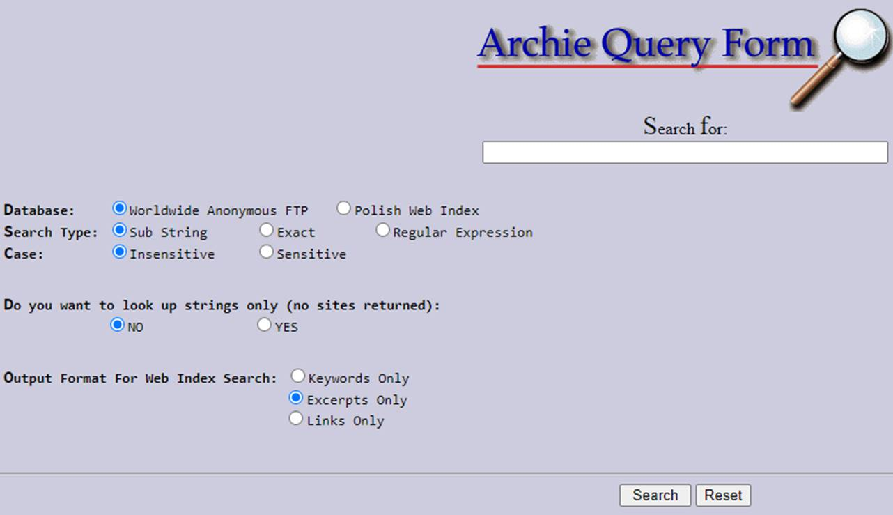 Halaman Utama Archie Query Form