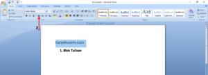 Blok tulisan, lalu klik Strikethrough
